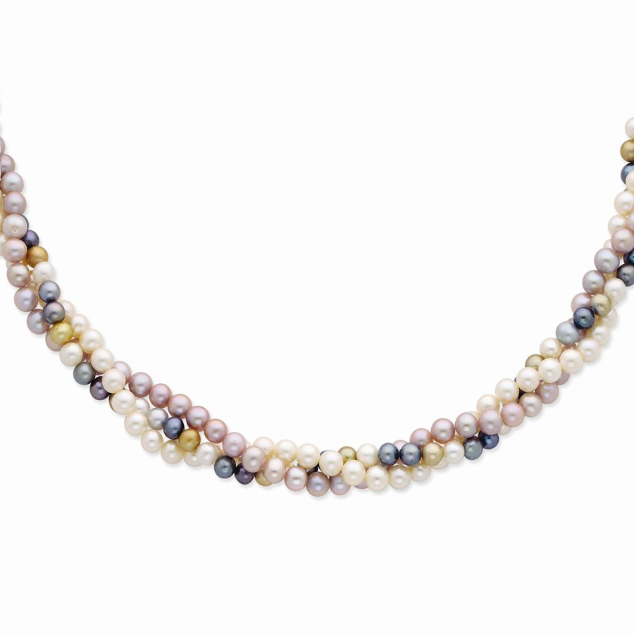 14k Gold 6-7 mm Multicolor Freshwater Cultured Pearl Necklace