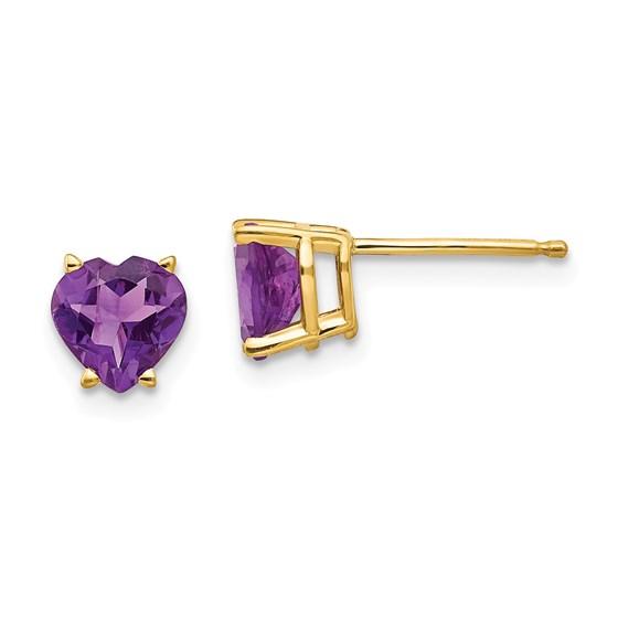 14k Gold 6 mm Heart Amethyst Earrings