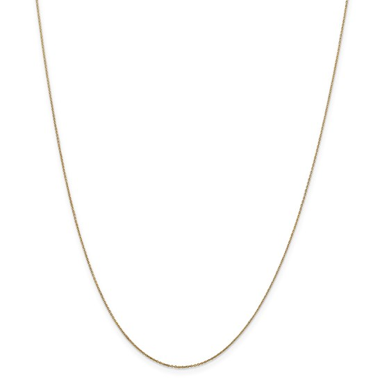 14k Gold .6 mm Solid Diamond-cut Cable Chain Necklace - 20 in.
