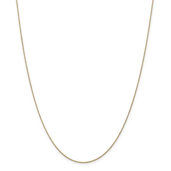 14k Gold .75 mm Solid Polished Cable Chain Necklace - 20 in.