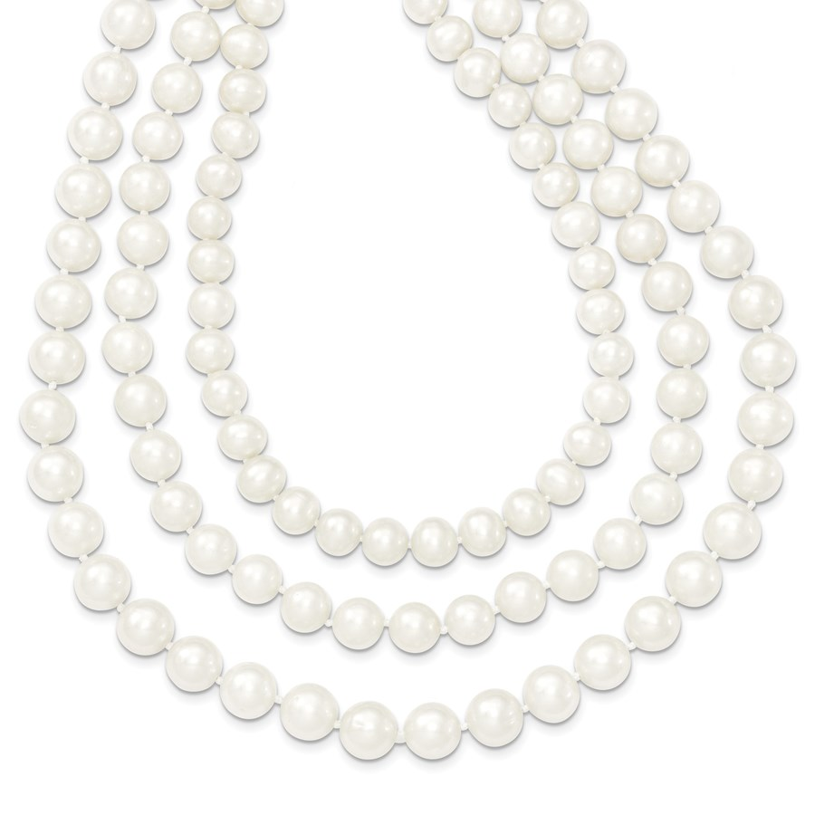 14k Gold 8-9 mm Freshwater Cultured 3-Strand Pearl Necklace