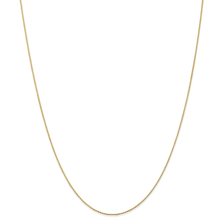 14k Gold .8 mm Round Diamond-cut Wheat Chain Necklace - 20 in.