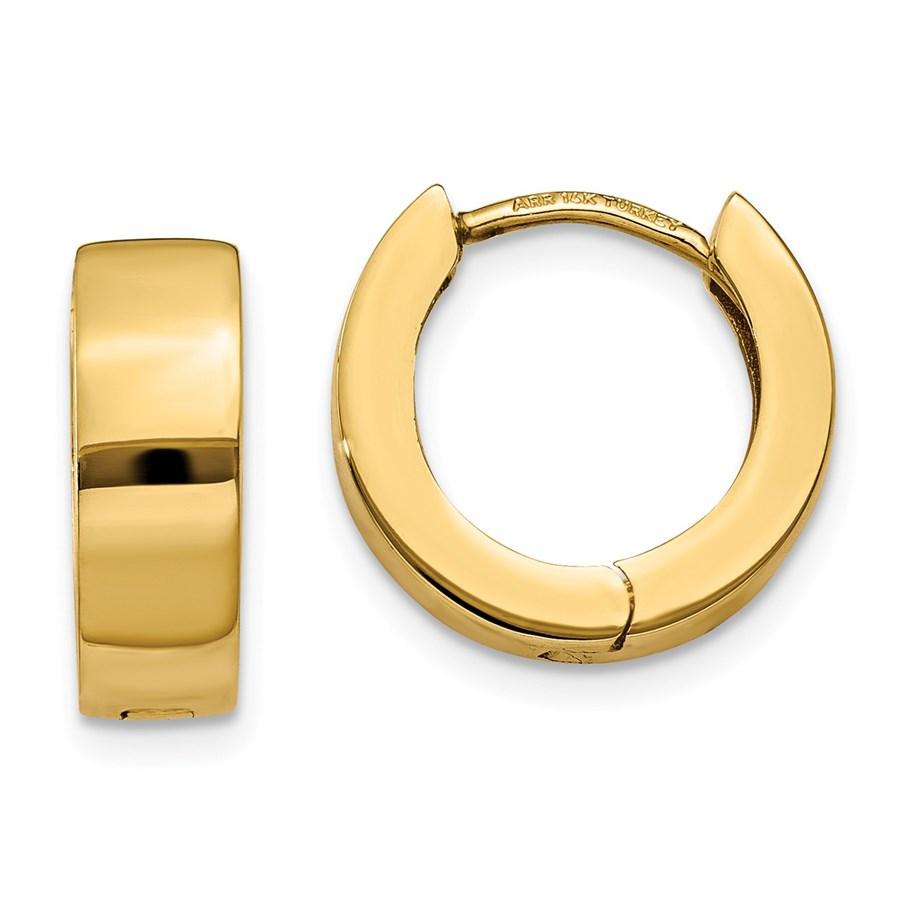 14k Gold 9 mm Hinged Hoop Earrings