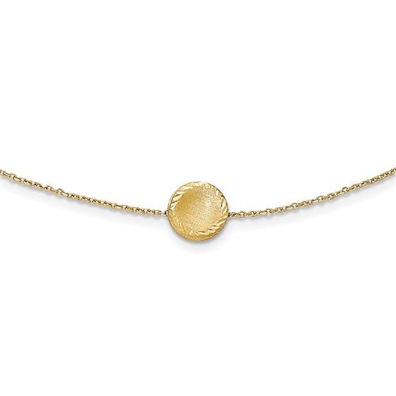 14k Gold Brushed & Polished Diamond Cut Circle Necklace