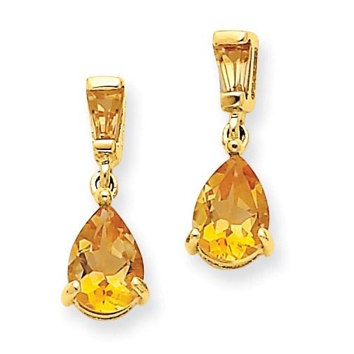 14k Gold Citrine Dangle Post Earrings