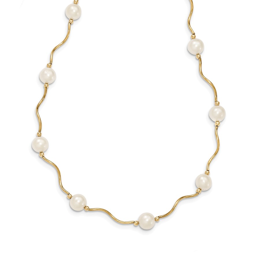 14k Gold Curved Bead & 6-7 mm Cultured Pearl Necklace