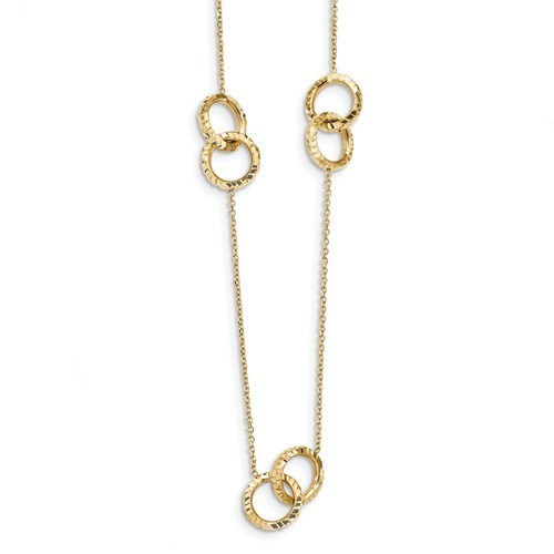 14k Gold Diamond Cut Polished Necklace - 16 in.