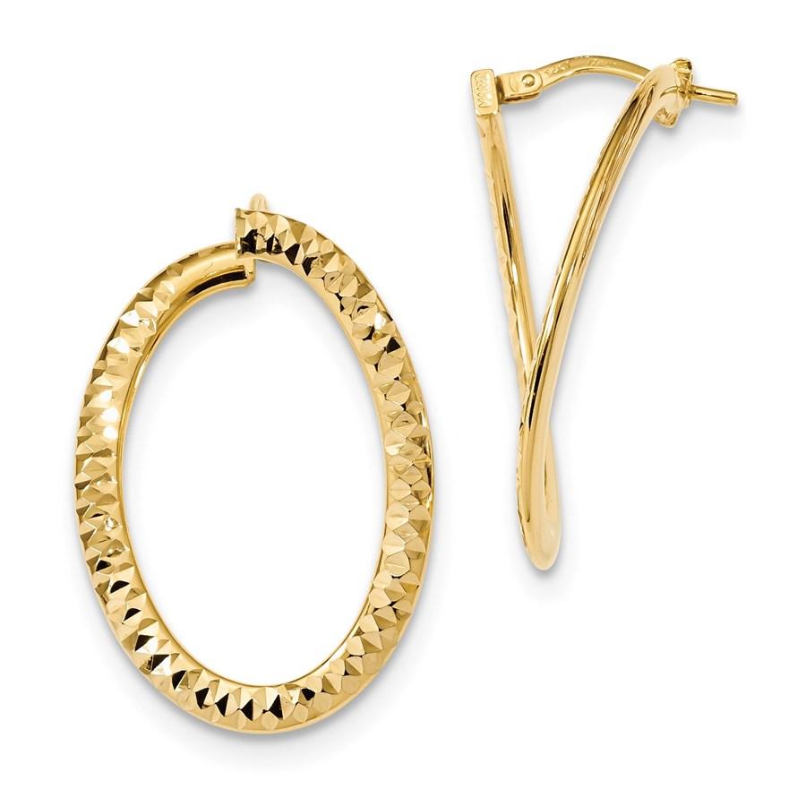 14k Gold Diamond Cut & Polished Twisted Hoop Earrings