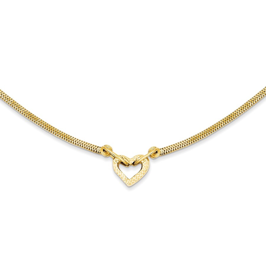 14k Gold Fancy Franco Diamond Cut Puff Heart Necklace