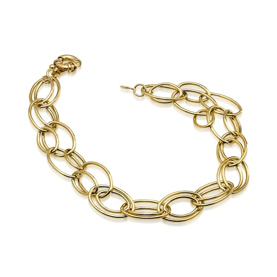 14k Gold Fancy Oval Link Bracelet