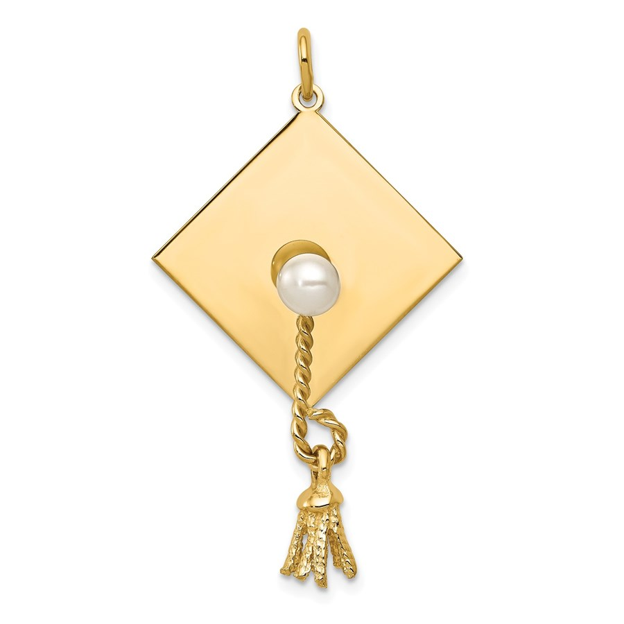 14k Gold Graduation Cap with FW Cultured Pearl Charm