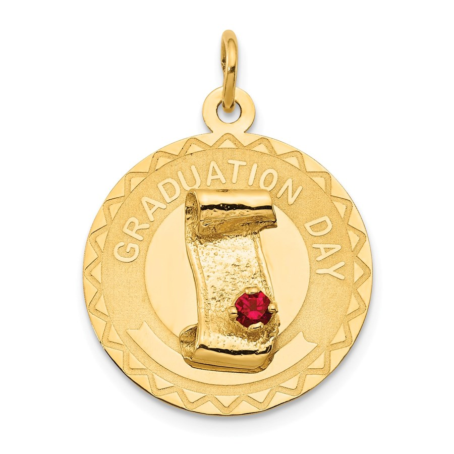 14k Gold Graduation Day Charm with Red Synthetic Stone Charm