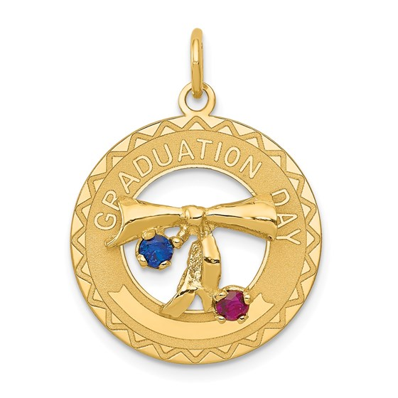 14k Gold Graduation Day Charm with Synthetic Stones Charm