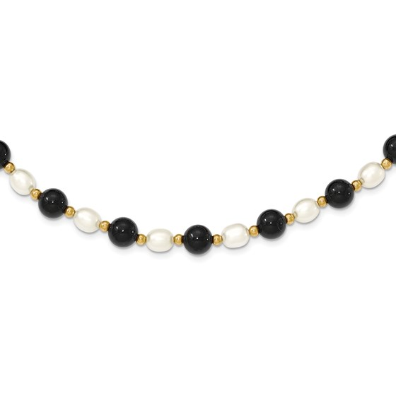 14k Gold Polished 6-6.5 mm White Cultured Pearl & Onyx Necklace