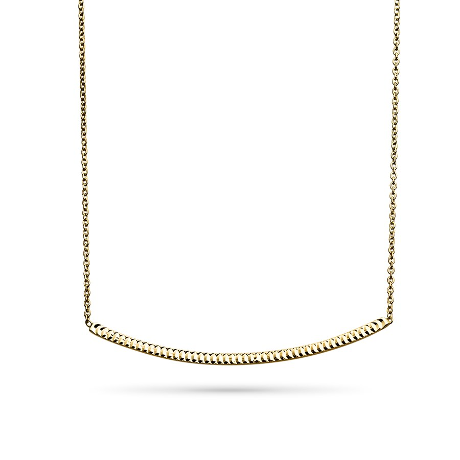14k Gold Polished Diamond-Cut Bar Necklace