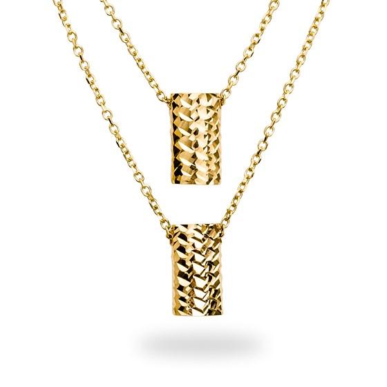 14k Gold Polished Diamond-Cut Rectangle Necklace