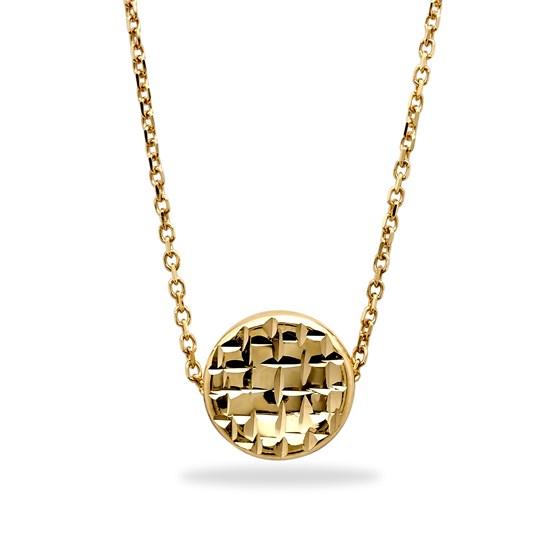 14k Gold Polished Diamond-Cut Round Necklace