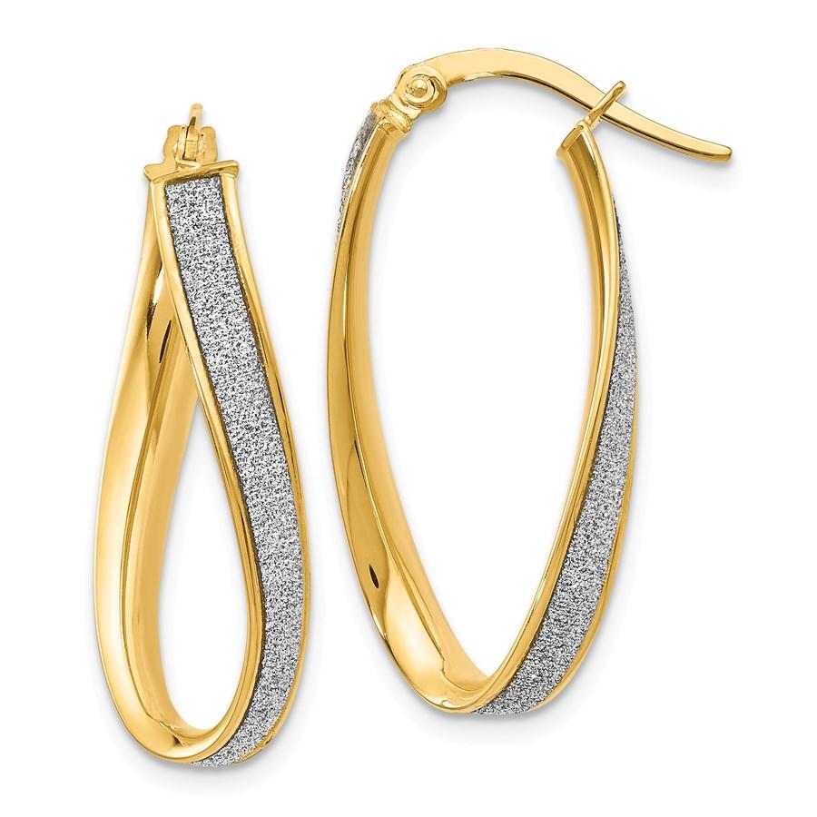 14k Gold Polished Gli mmer Infused Oval Twist Hoop Earrings