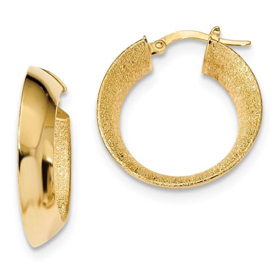 14k Gold Polished Laser Textured Hoop Earrings