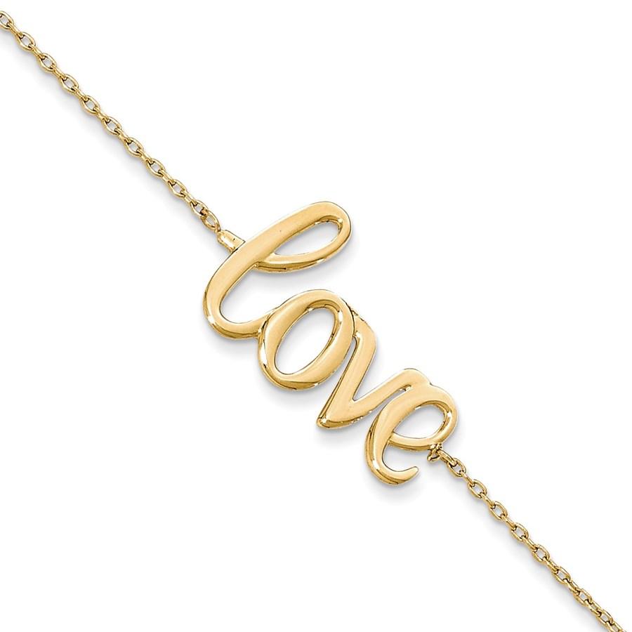 14k Gold Polished LOVE Chain Bracelet