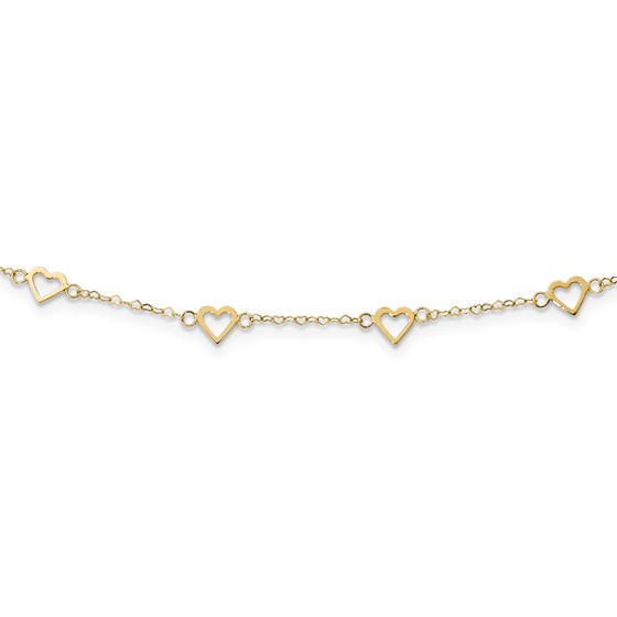 14k Gold Polished Open Hearts on Heart Link 17-Station Necklace