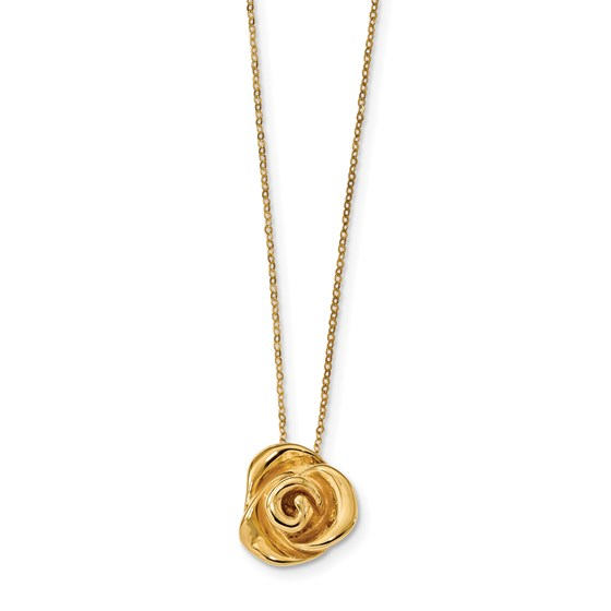 14k Gold Polished Puffed Rose Necklace
