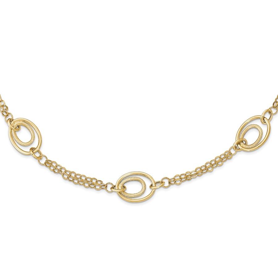 14k Gold Polished Textured Fancy Necklace