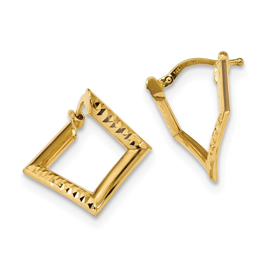 14k Gold Polished Twisted Square Earrings