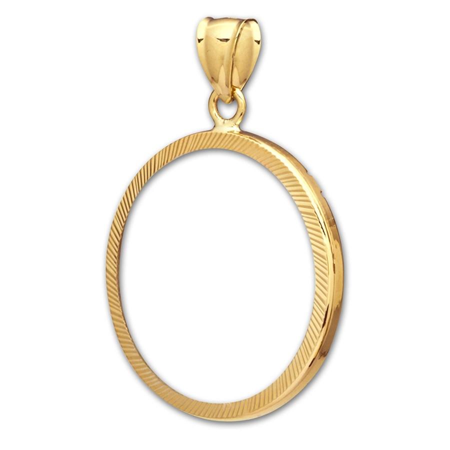 14K Gold Prong Diamond-Cut Coin Bezel - 18 mm