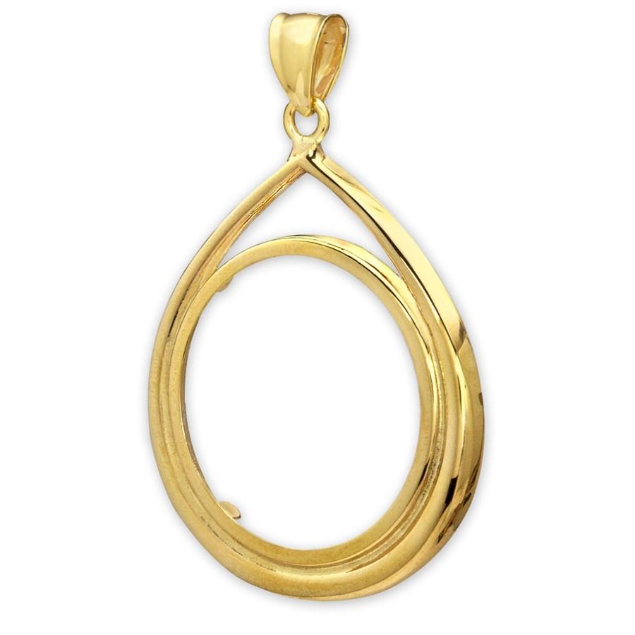 14K Gold Prong Tear Drop Coin Bezel - 27 millimeter