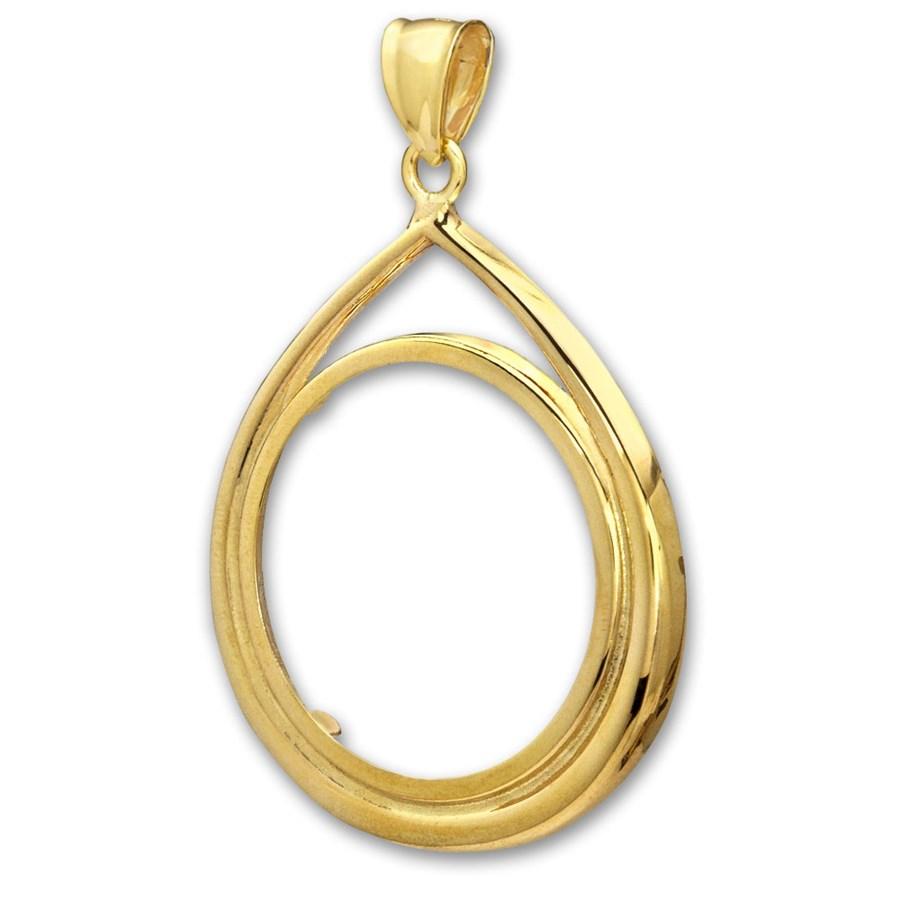 14K Gold Prong Tear Drop Coin Bezel - 32.7 mm