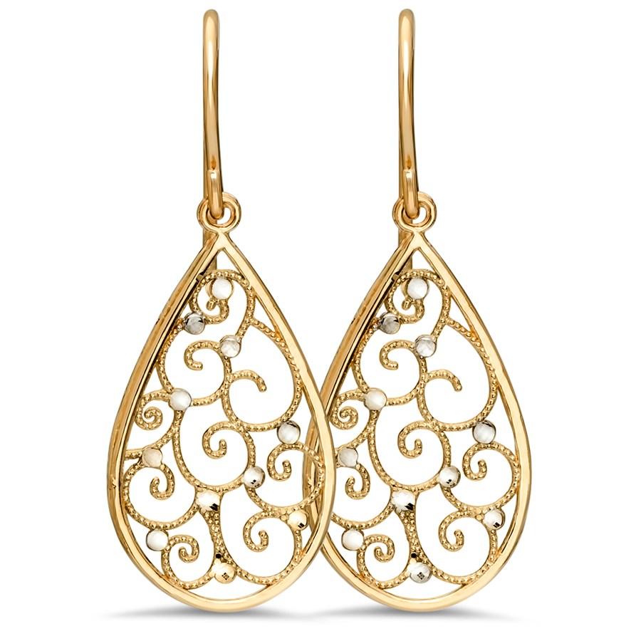 14k Gold Rhodium Polished Teardrop Earrings