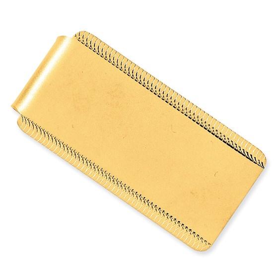14k Gold Satin Polished Engraveable Edged Design Money Clip