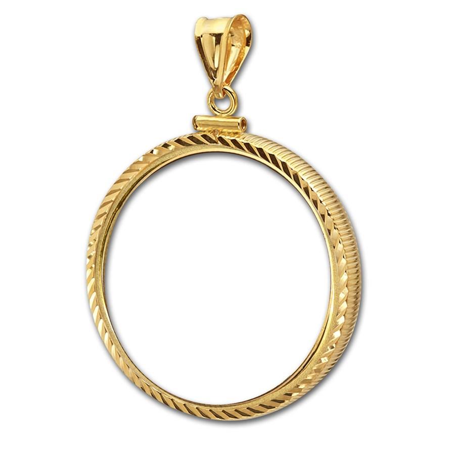 14K Gold Screw-Top Diamond-Cut Coin Bezel - 27 mm
