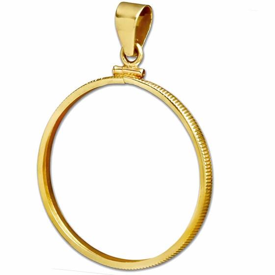 14K Gold Screw-Top Plain Coin Bezel (French 20 Francs)