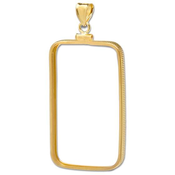 14K Gold Screw-Top Plain-Front Bezel (1 oz Gold Perth Oriana Bar)