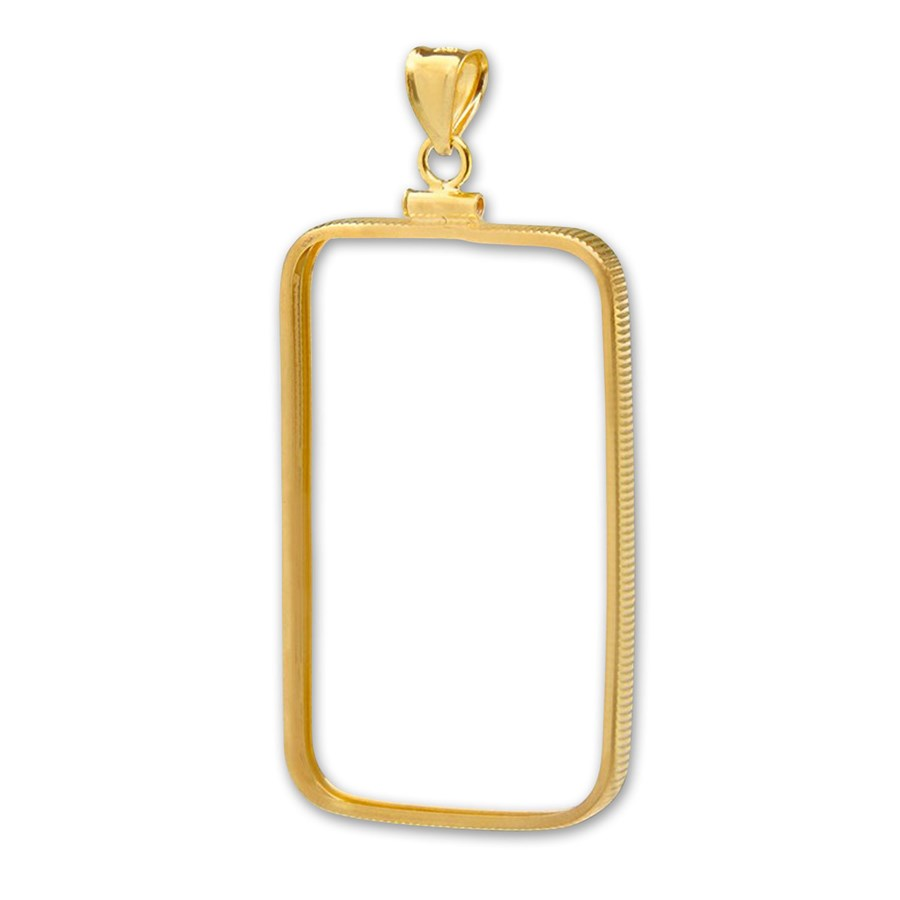 14K Gold Screw-Top Plain-Front Bezel (5 gram Gold Bar) PAMP Suiss