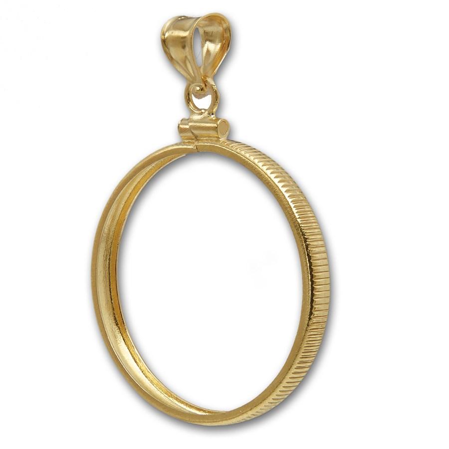14K Gold Screw-Top Plain-Front Coin Bezel - 16.5 mm