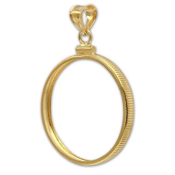 14K Gold Screw-Top Plain-Front Coin Bezel - 22 mm