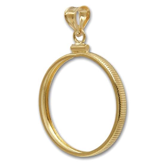 14K Gold Screw-Top Plain-Front Coin Bezel ($5 U.S. Gold)
