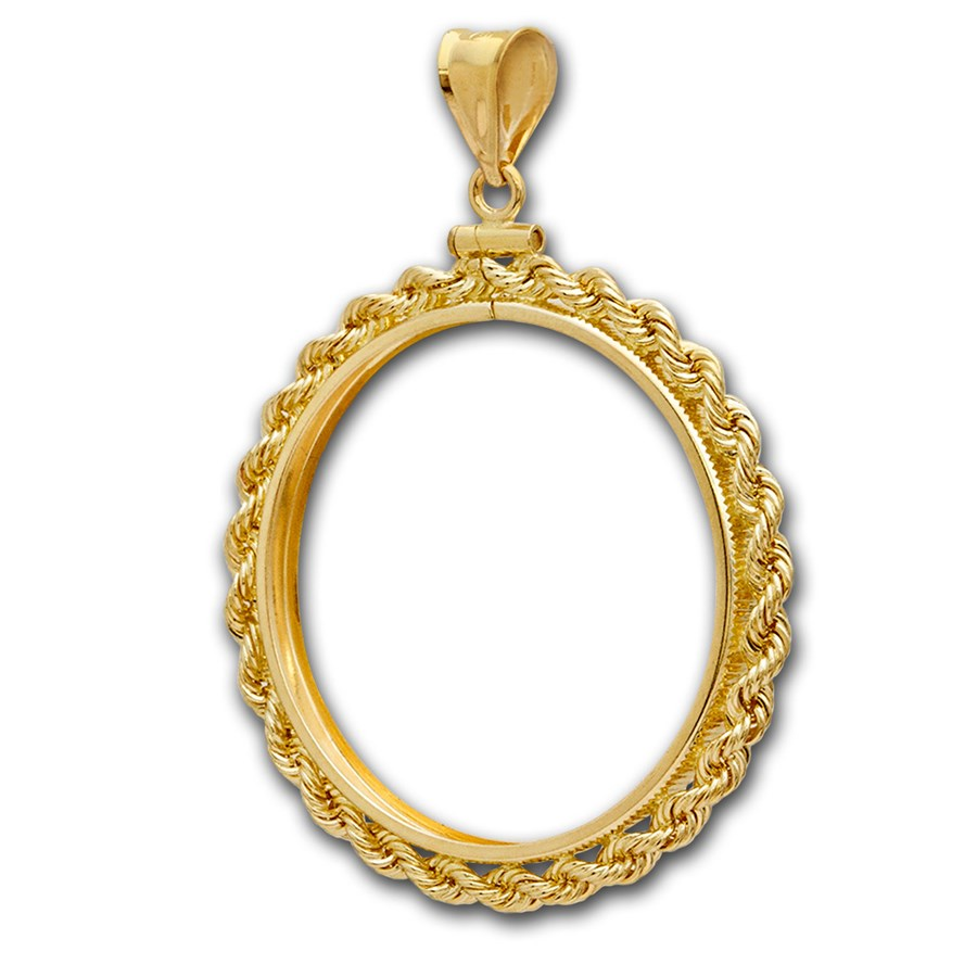 14K Gold Screw-Top Rope Polished Coin Bezel - 34.2 mm
