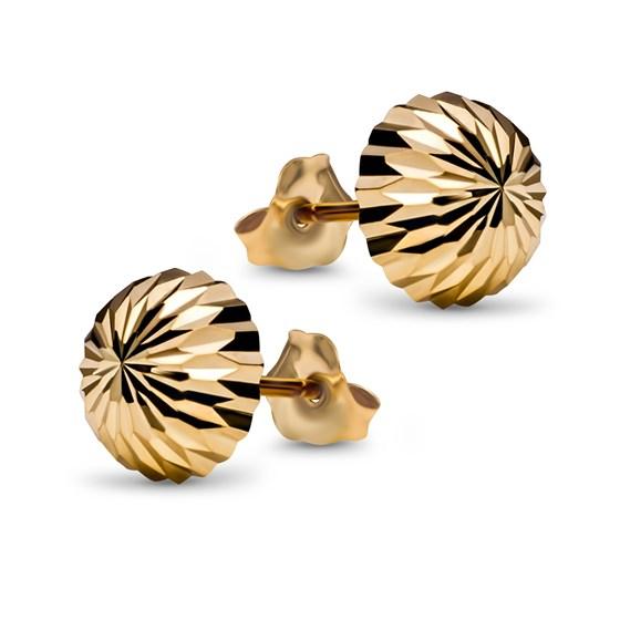 14k Gold Small Diamond Cut 8 mm Domed Post Earrings