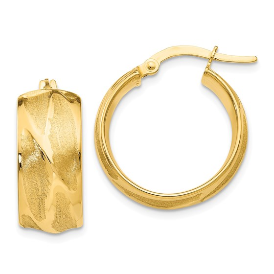 14k Gold Textured Small Round Hoop Earrings