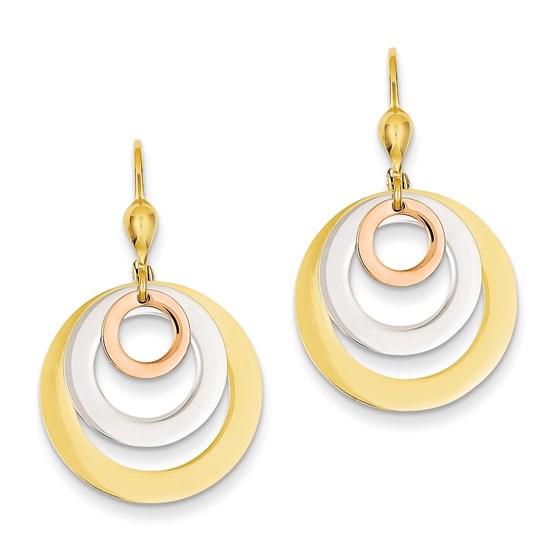 14k Gold Tri-color Circle Leverback Dangle Earrings