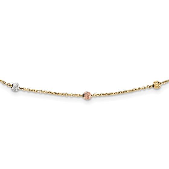 14k Gold Tri-color Polished & Diamond Cut Beaded Necklace