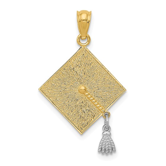 14k Gold Two-tone 3-D Graduation Cap w/Moveable Tassel Pendant