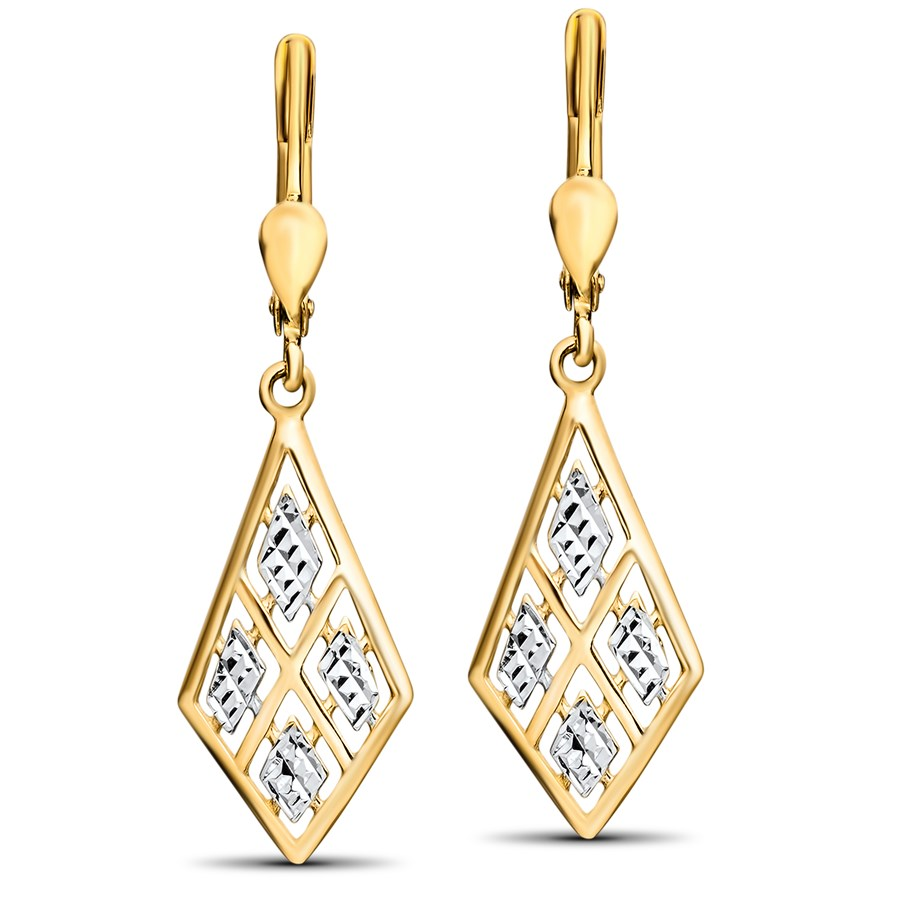 14k Gold Two-Tone Polished Diamond-Cut Leverback Earrings