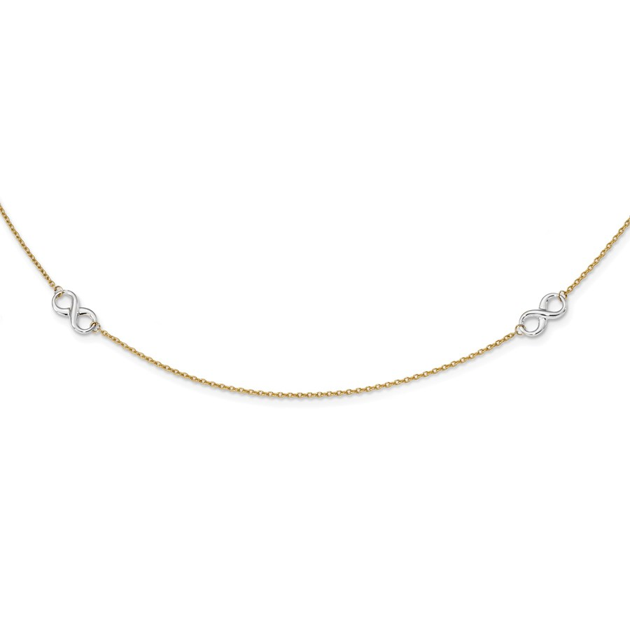 14k Gold Two-tone Polished Infinity Necklace