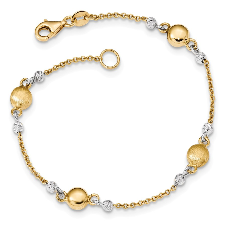 14k Gold Two-tone Textured Beaded Bracelet