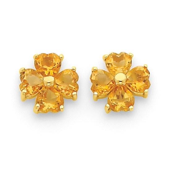 14k Heart-shaped Citrine Flower Post Earrings